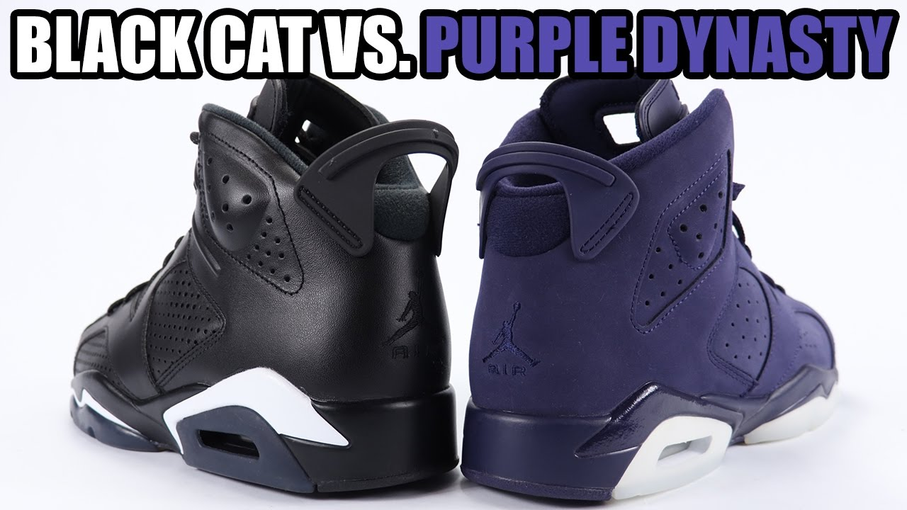 2e65279ab59b6c best black cat vs purple dynasty air jordan 6 comparison 87a3a df669