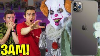 PENNYWISE STOLE OUR IPHONE 11 AT 3AM! (SPENDING 24 HOURS BOX FORT ESCAPE?!!) UNBOXING SPY