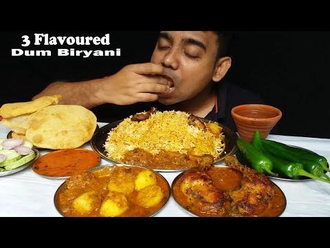 Food Dum Biryani and Puri With Chicken Curry Mukbang