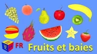 Apprendre les fruits en français. Dessins animés éducatifs pour bébés. Fruits in French