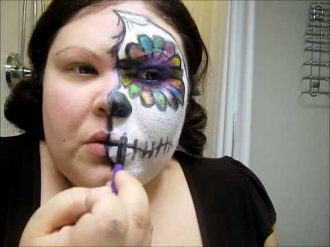 Easy Colorful Sugar Skull Halloween Makeup Tutorial dia los ...