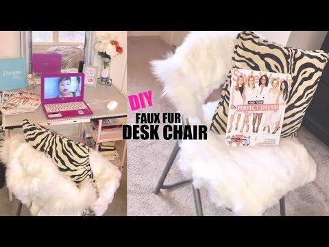 DIY FAUX FUR DESK CHAIR!!!