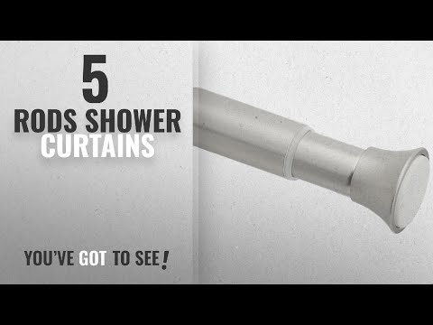 """Top 10 Rods Shower Curtains [2018]: AmazonBasics Shower Curtain Tension Rod - 24-36"""", Nickel"""