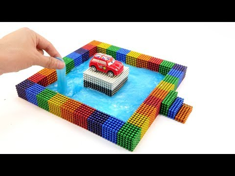 DIY How To Make Park Car In Rainbow Swimming Pool From Magnetic Balls And Slime | Surprise Balls