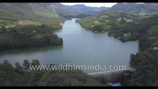 Mattupetty Dam in Idukki, Kerala: aerial view of Munnar