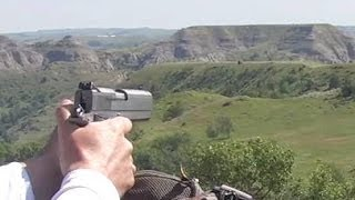 230 yard shot coonan 357 magnum pistol steel target