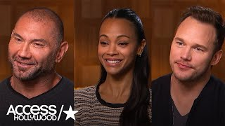 Chris Pratt, Zoe Saldana & Dave Bautista On Getting Made Up For