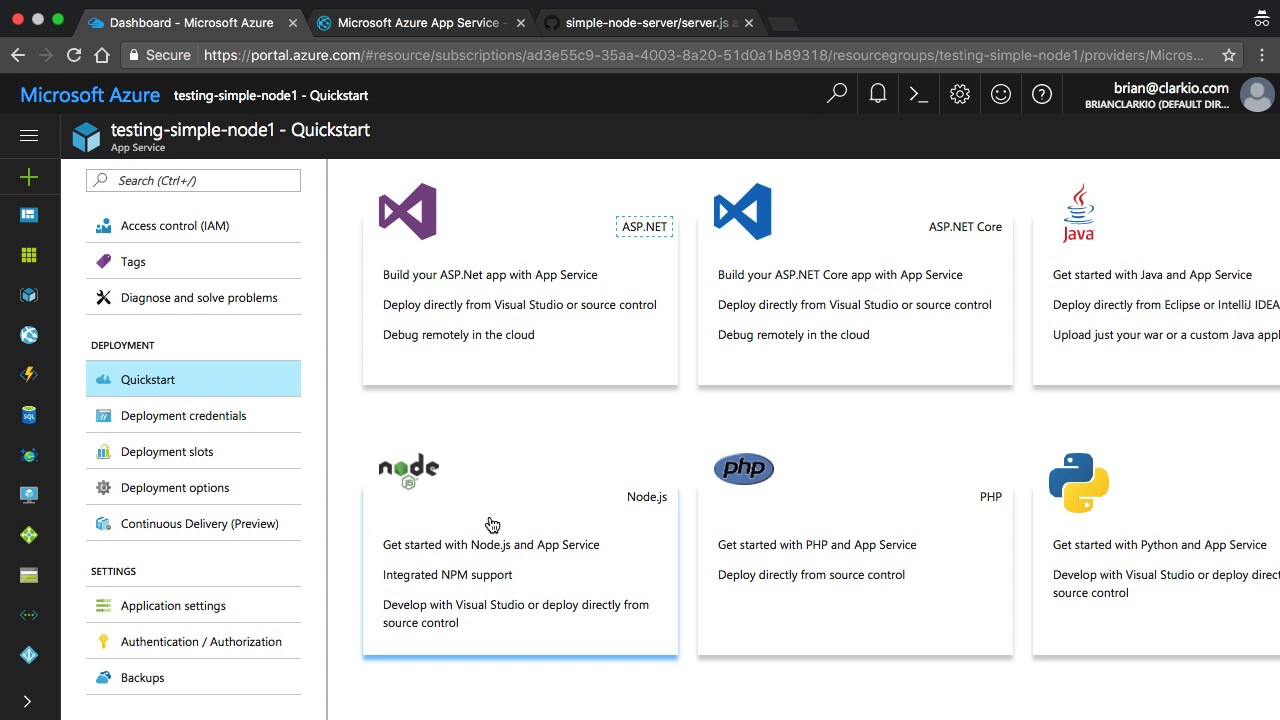 Connecting Node js Source Code to Azure from GitHub
