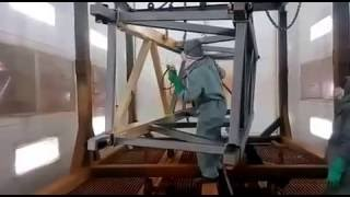 Paint booth for construction machinery and large fabricated parts