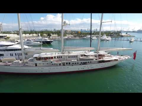 "Largest privately owned sailing yacht ""Athena"" at Island Gardens Marina 