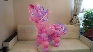 лошадка Little Pony из воздушных шаров своими руками. Horse Little Pony of balloons