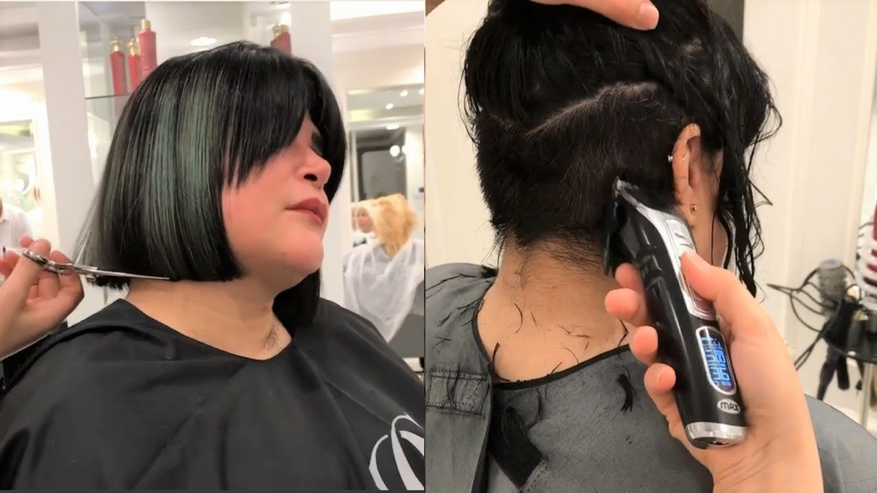 most short bob with undercut | bob undercut women |Women Short Haircut Tutorial |hair transformation