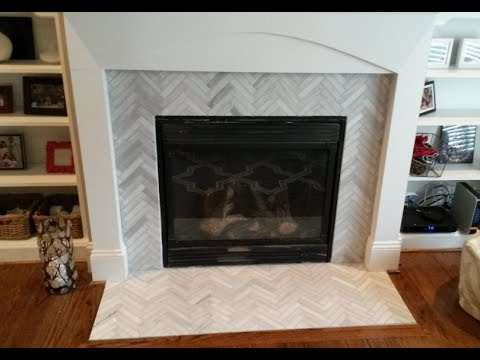 Fireplace Surround Makeover- 1 x 6 Ascend Chevron Honed tiles ...
