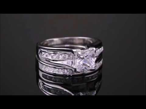 stainless-steel-princess-cut-women's-2-piece-wedding-set