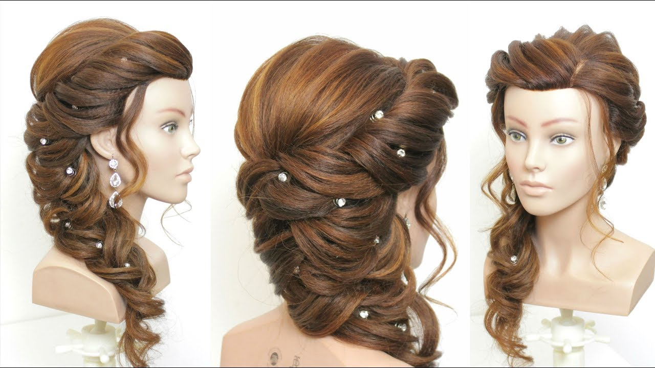new bridal prom hairstyle for long hair. step by step