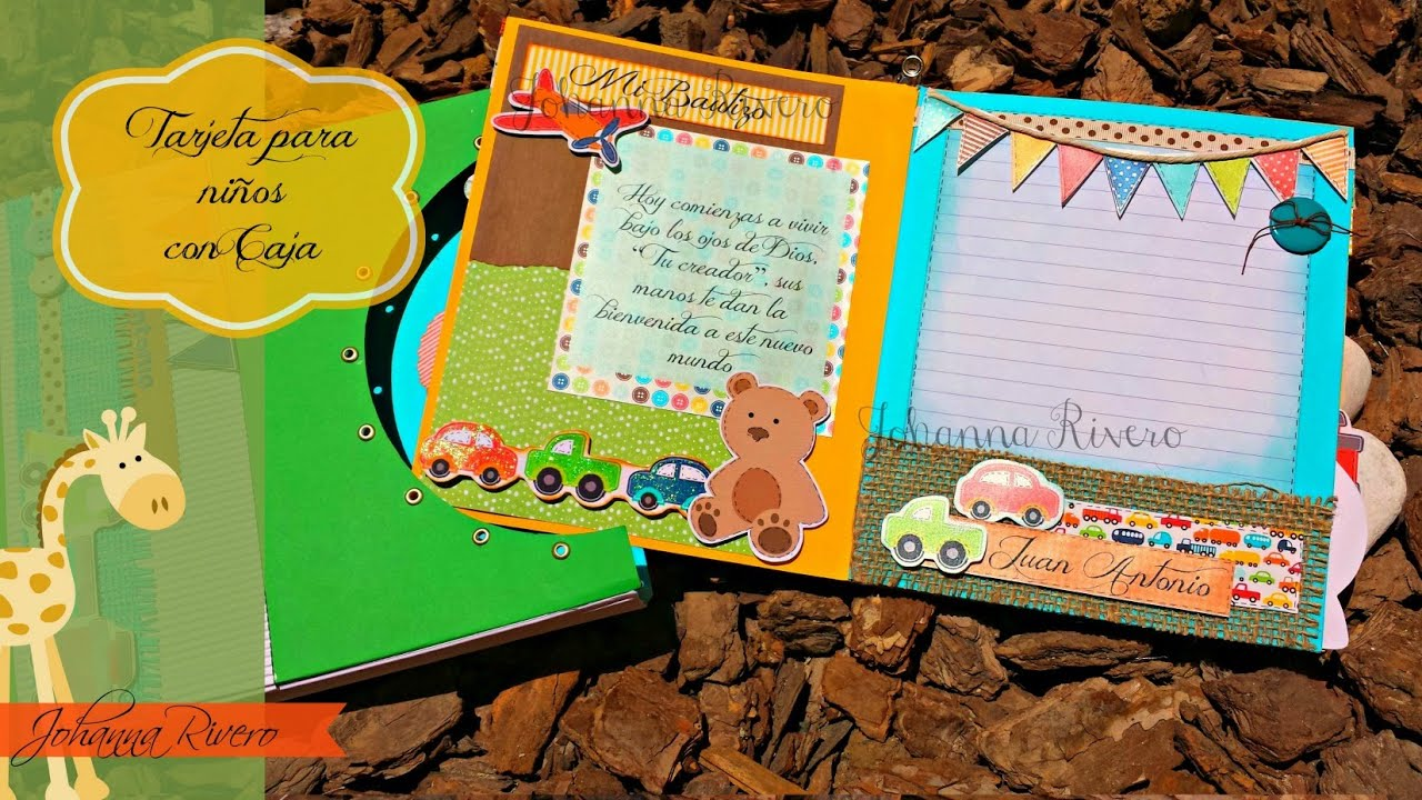 Tarjeta para ni os con caja decorativa youtube - Cajas decoradas para bebes ...