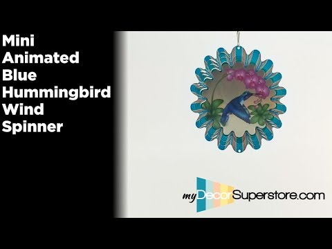 Animated Blue Humminbird Mini Wind Spinner