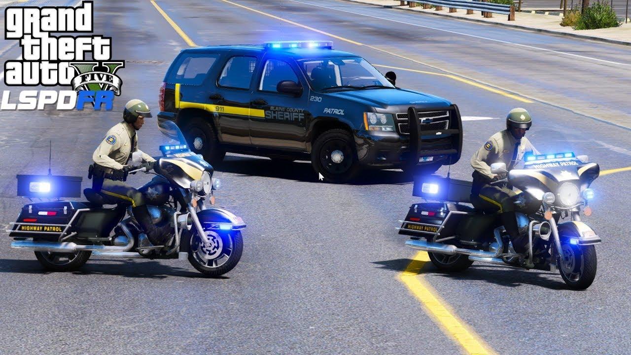 GTA 5 LSPDFR #534 |Blaine County Sheriff Motorcycle Highway Patrol|VIP  Escorts & Traffic Enforcement