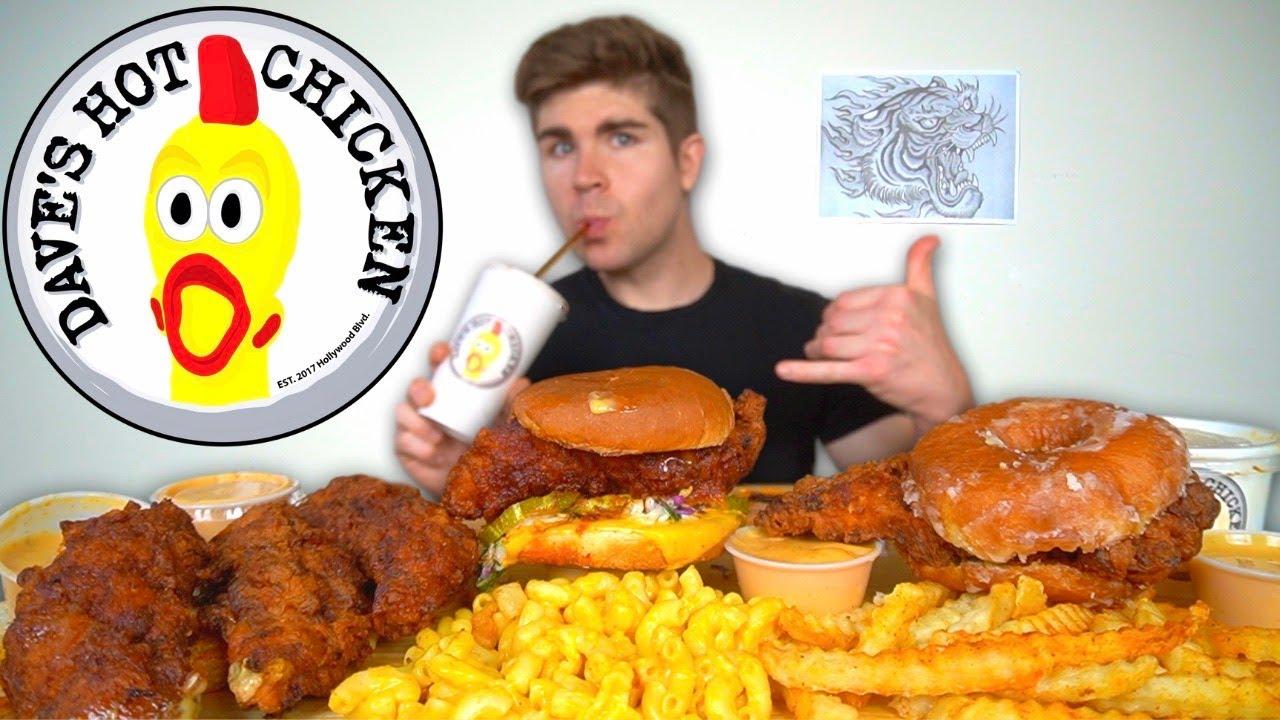 I LOVE Daves Hot Chicken Mukbang - Nashville Hot Chicken + Donut Chicken Sandwich + Mac N Cheese +