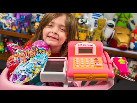 HUGE Toy Shopping Cart Surprise Toys for Kids Girls Blind Bags & Surprise Eggs Kinder Playtime