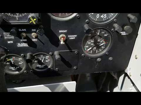 P 51, engine warm up, taxiing and magneto check, instrument pannel view.