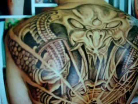 Tattoo, Full back Skull and Buddha , xam nghe thuat.wmv