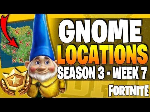 Fortnite - Search Hidden GNOMES In Different Locations (10 GNOME LOCATIONS) Week 7 Season 3 !!
