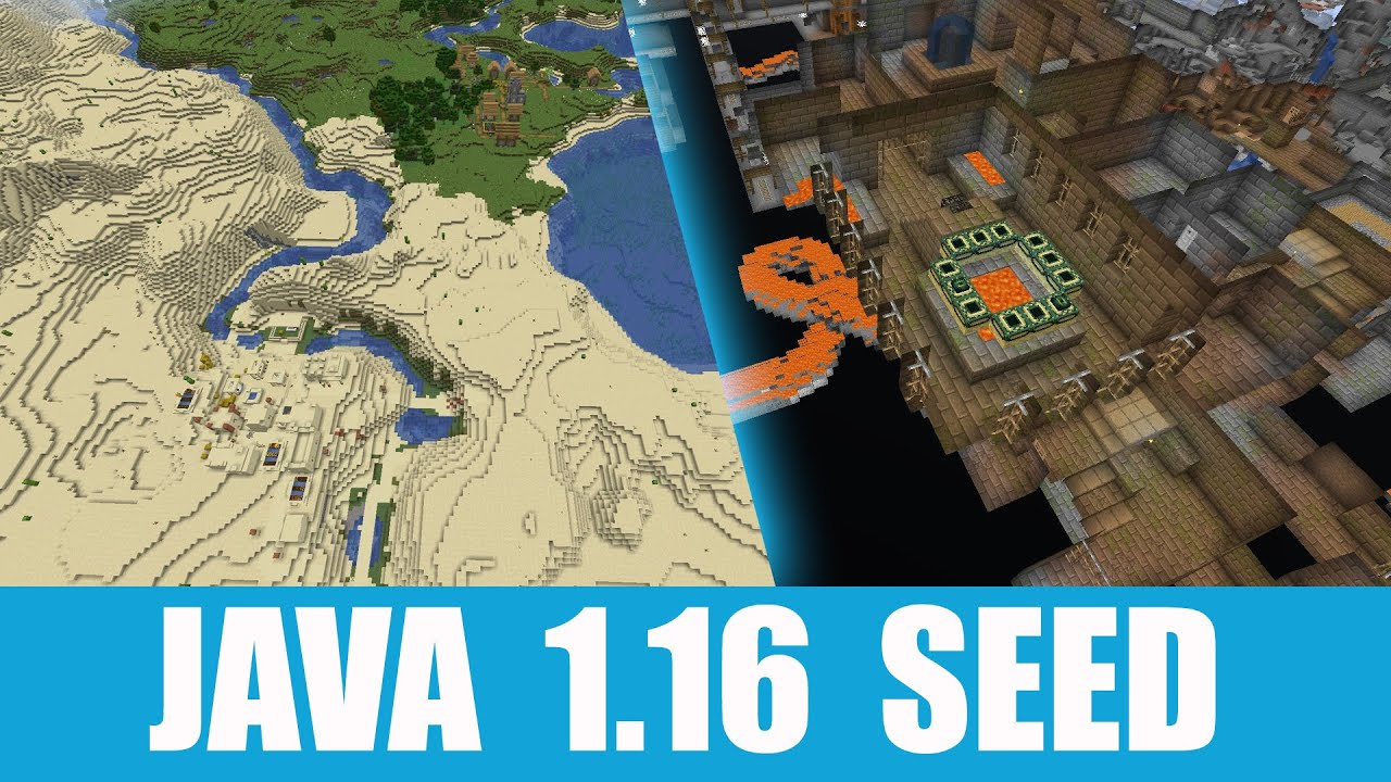 Minecraft Java 1 16 Seed Two Villages At Spawn And Stronghold Under Desert Temple Youtube