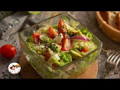 Лёгкий овощной салат с авокадо. Очень вкусный и полезный салат.