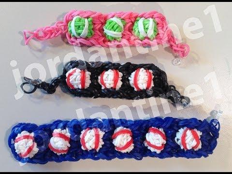 New Baseball or Tennis Ball Bracelet - Advanced - Rainbow Loom, Crazy Loom, Wonder Loom, Bandaloom
