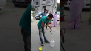 Snake tufani rescue -rat snake below stone