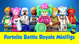 Lego Fortnite Battle Royale Unofficial Minifigures w/ Tomatohead Zoey Teknique & Default Skin