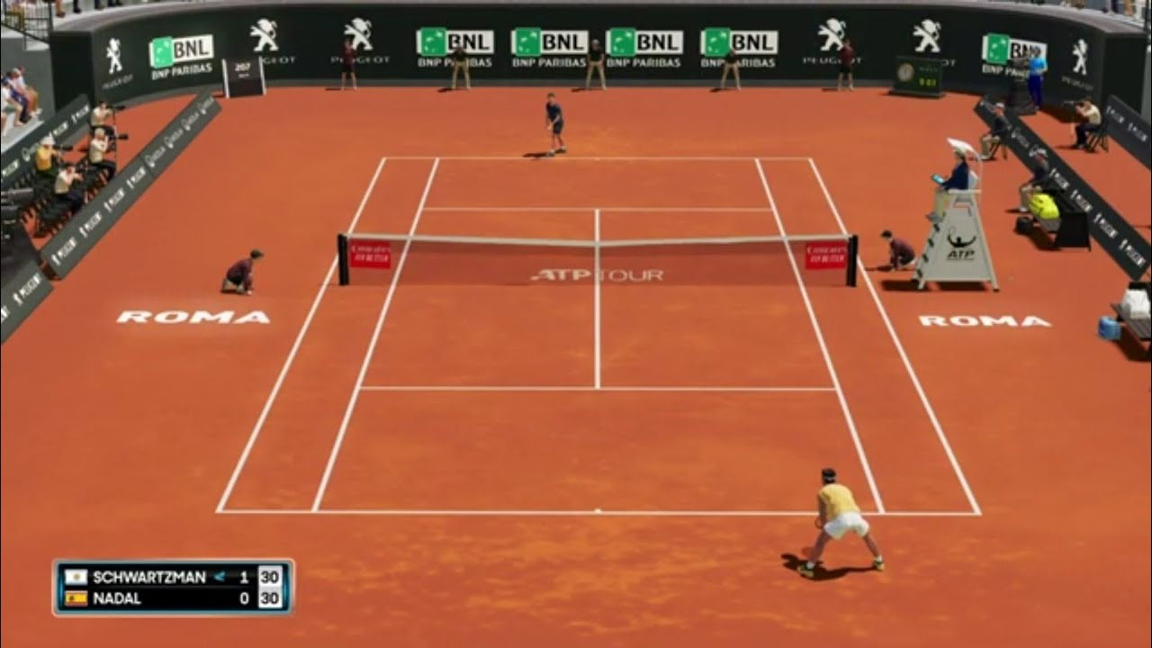Diego Schwartzman Vs Rafael Nadal Atp Roma 20 Live Gameplay Youtube