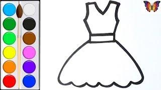 Как нарисовать ПЛАТЬЕ /  мультик раскраска ПЛАТЬЕ  для детей / Раскраски малышам