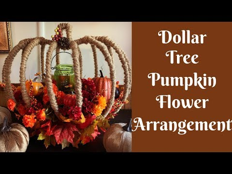 Dollar Tree Fall Crafts: Dollar Tree Pumpkin Wreath Form Flower Arrangement