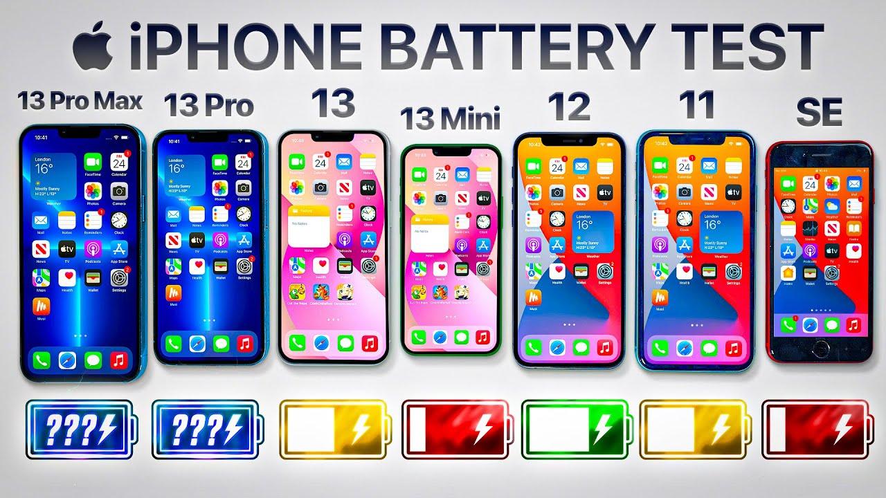 iPhone 13 Pro Max vs 13 Pro / 13 / 13 Mini / 12 / 11 / SE - Battery Life DRAIN TEST