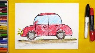 Как нарисовать Машину. Урок рисования для детей от 3 лет | Раскраска для детей(