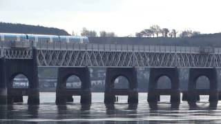 Diesel Passenger Train Crossing Tay Railway Bridge Scotland