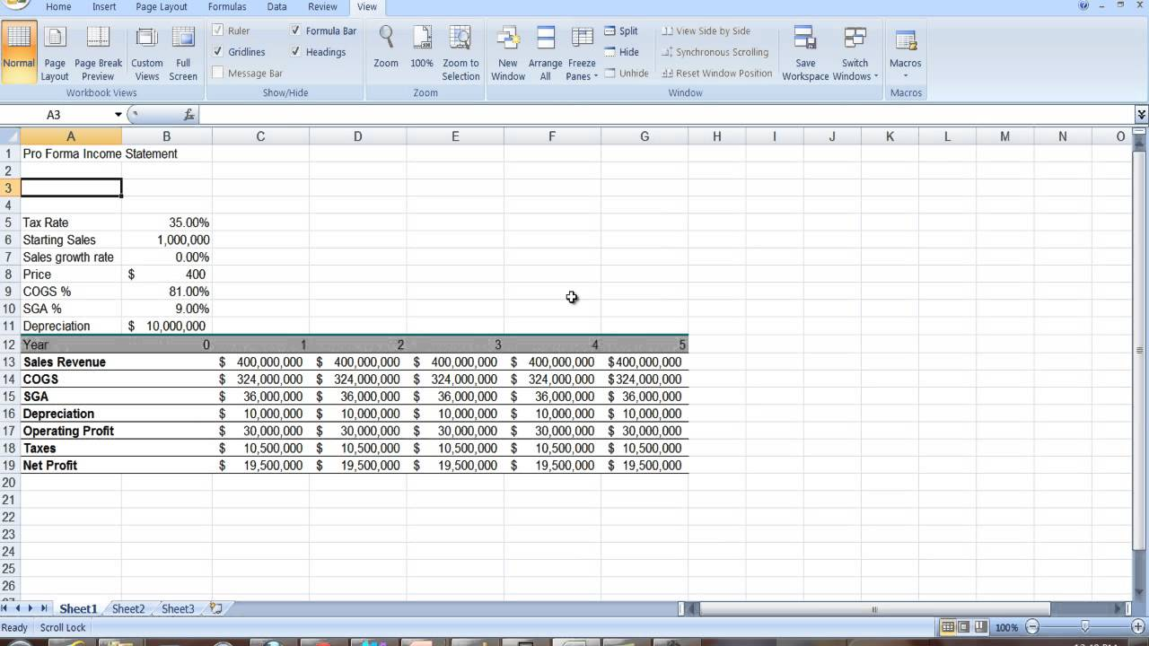 simple profit and loss statement excel