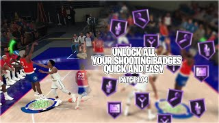 EASIEST WAY to get ALL HALL OF FAME SHOOTING BADGES on NBA2K20!! PATCH 1.04