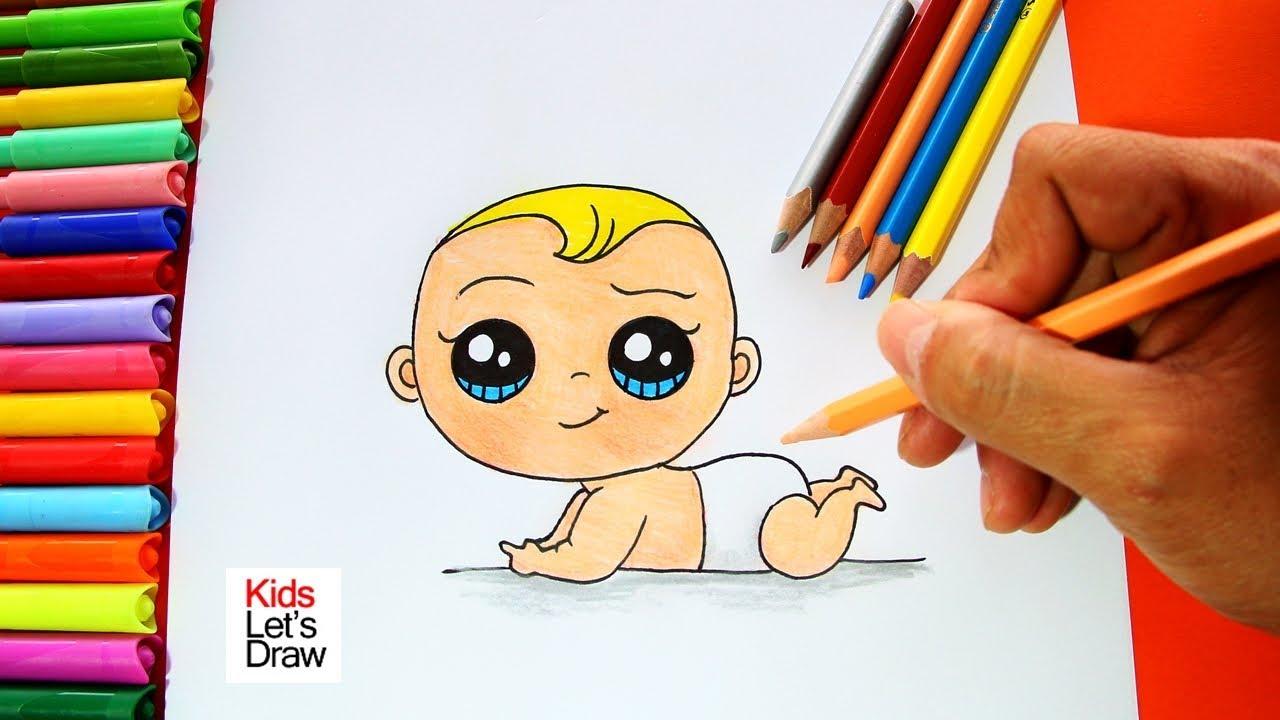 Cómo Dibujar Y Pintar Un Bebé Paso A Paso How To Daw A Cute Baby