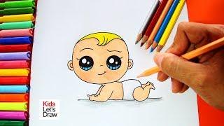 Cómo dibujar y pintar un BEBÉ (paso a paso) | How to daw a Cute Baby