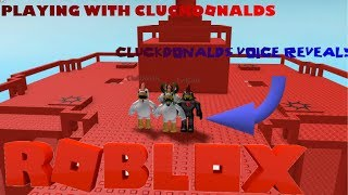 Cluckdonalds VOICE REVEAL!!!: 3 Way collab in doomspire brickbattle! Roblox
