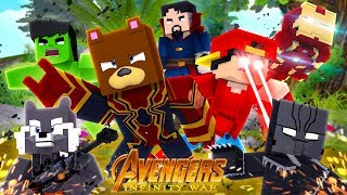 Minecraft Movie - THE AVENGERS INFINITY WAR!!! w/Little Ropo & Bruno The Bear