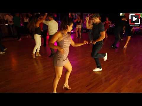 Thalia y Luis Collazo dancing salsa at Salrica Dance Houston
