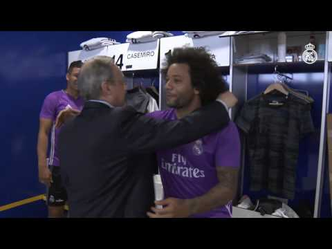 Florentino Pérez welcomes the team at Ciudad Real Madrid