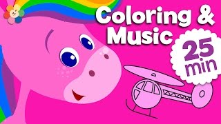 Pink | Coloring and Music | Rainbow Horse | BabyFirst TV