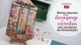 Porta chaves com decoupage e carimbos (Angelina Couto)
