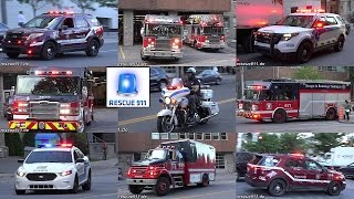 Montreal FIRE response - Units responding to downtown roof fire