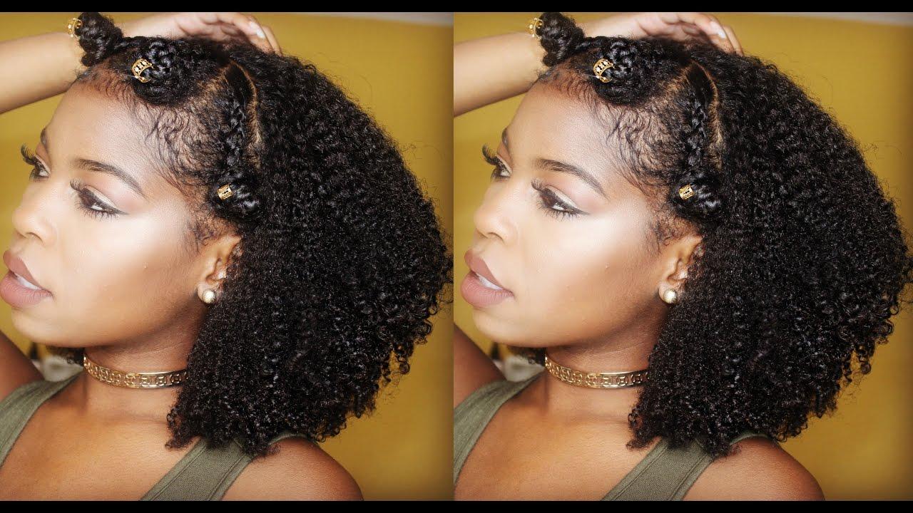 Braided Bantu Knot Crown Tutorial On Natural Hair FT. Curl ...